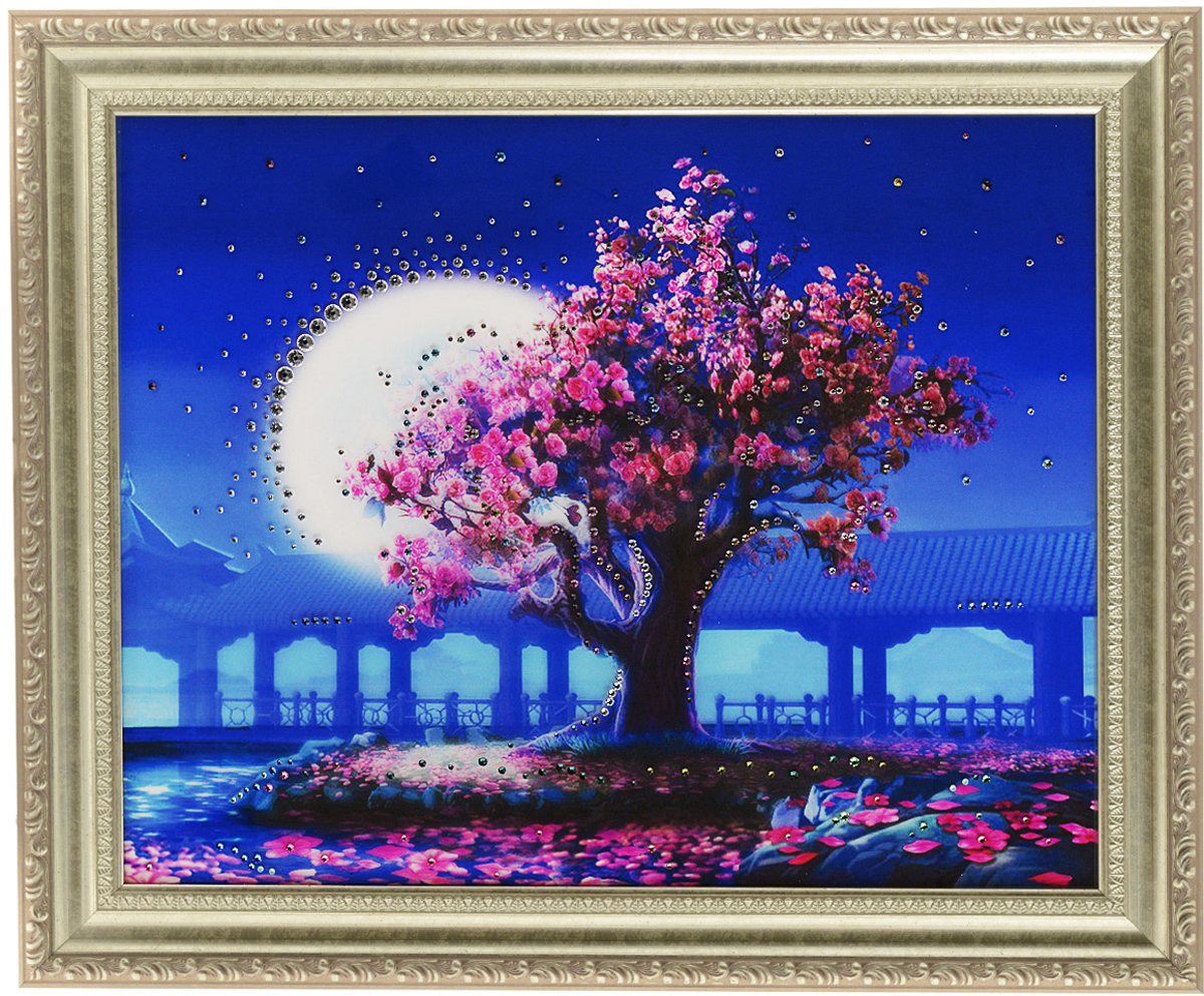 Картина с кристаллами Swarovski Лунный свет, 60 х 50 см1200Изящная картина в багетной раме, инкрустирована кристаллами Swarovski, которые отличаются четкой и ровной огранкой, ярким блеском и чистотой цвета. Красочное изображение сада в лунном свете, расположенное на внутренней стороне стекла, прекрасно дополняет блеск кристаллов. С обратной стороны имеется металлическая проволока для размещения картины на стене. Картина с кристаллами Swarovski Лунный свет элегантно украсит интерьер дома или офиса, а также станет прекрасным подарком, который обязательно понравится получателю. Блеск кристаллов в интерьере, что может быть сказочнее и удивительнее. Картина упакована в подарочную картонную коробку синего цвета и комплектуется сертификатом соответствия Swarovski.
