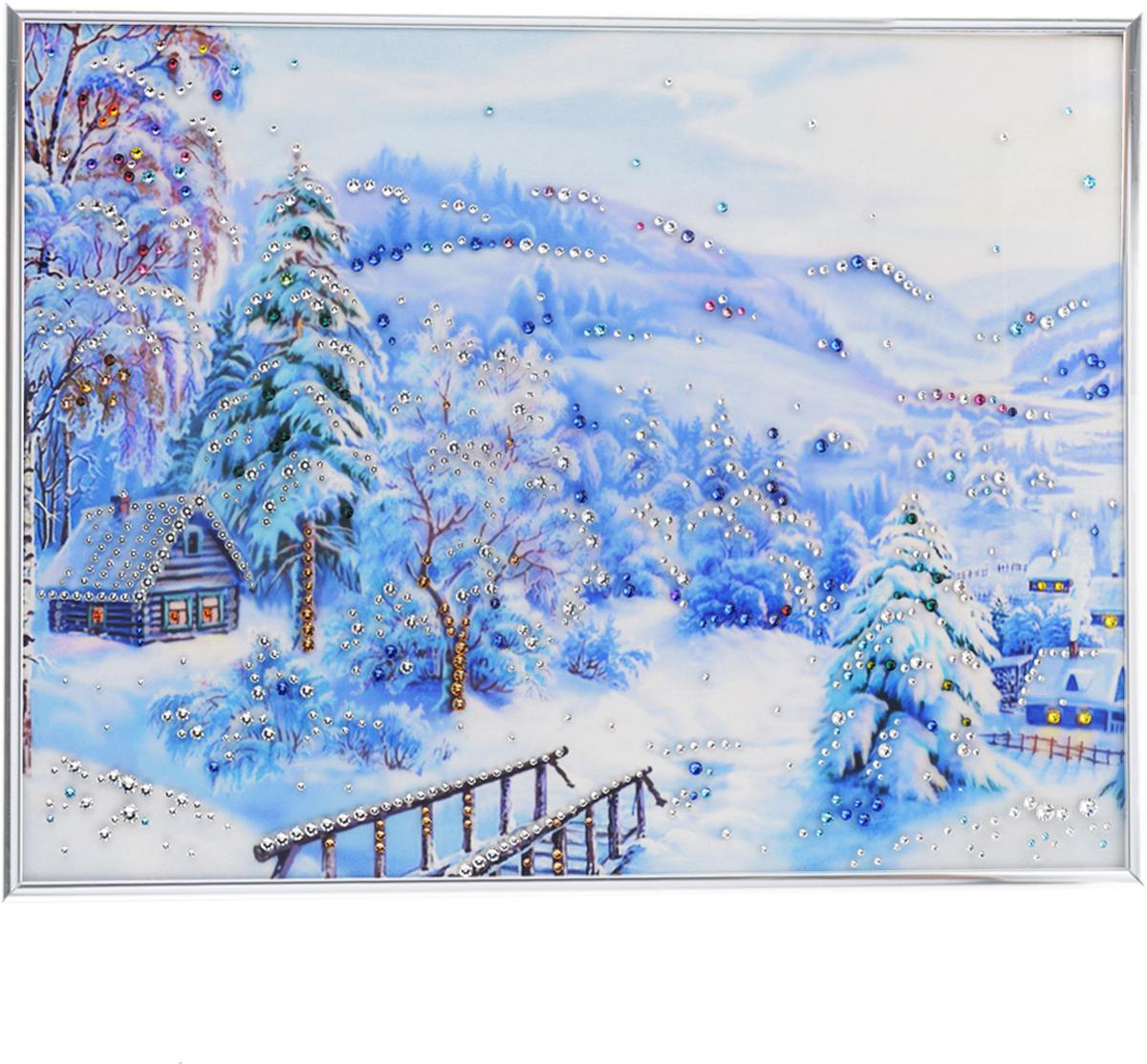 Картина с кристаллами Swarovski Зима, 40 х 30 см1109Изящная картина в металлической раме, инкрустирована кристаллами Swarovski, которые отличаются четкой и ровной огранкой, ярким блеском и чистотой цвета. Красочное изображение зимнего пейзажа, расположенное под стеклом, прекрасно дополняет блеск кристаллов. С обратной стороны имеется металлическая петелька для размещения картины на стене.Картина с кристаллами Swarovski Зима элегантно украсит интерьер дома или офиса, а также станет прекрасным подарком, который обязательно понравится получателю. Блеск кристаллов в интерьере, что может быть сказочнее и удивительнее.Картина упакована в подарочную картонную коробку синего цвета и комплектуется сертификатом соответствия Swarovski.