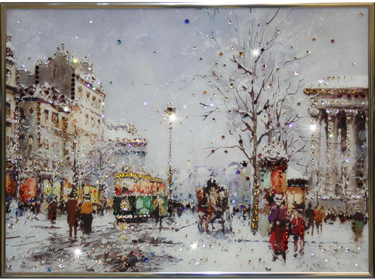 Картина с кристаллами Swarovski Зимний вечер, 40 х 30 см1111Изящная картина в металлической раме, инкрустирована кристаллами Swarovski, которые отличаются четкой и ровной огранкой, ярким блеском и чистотой цвета. Красочное изображение зимней улицы, расположенное под стеклом, прекрасно дополняет блеск кристаллов. С обратной стороны имеется металлическая петелька для размещения картины на стене. Картина с кристаллами Swarovski Зимний вечер элегантно украсит интерьер дома или офиса, а также станет прекрасным подарком, который обязательно понравится получателю. Блеск кристаллов в интерьере, что может быть сказочнее и удивительнее.