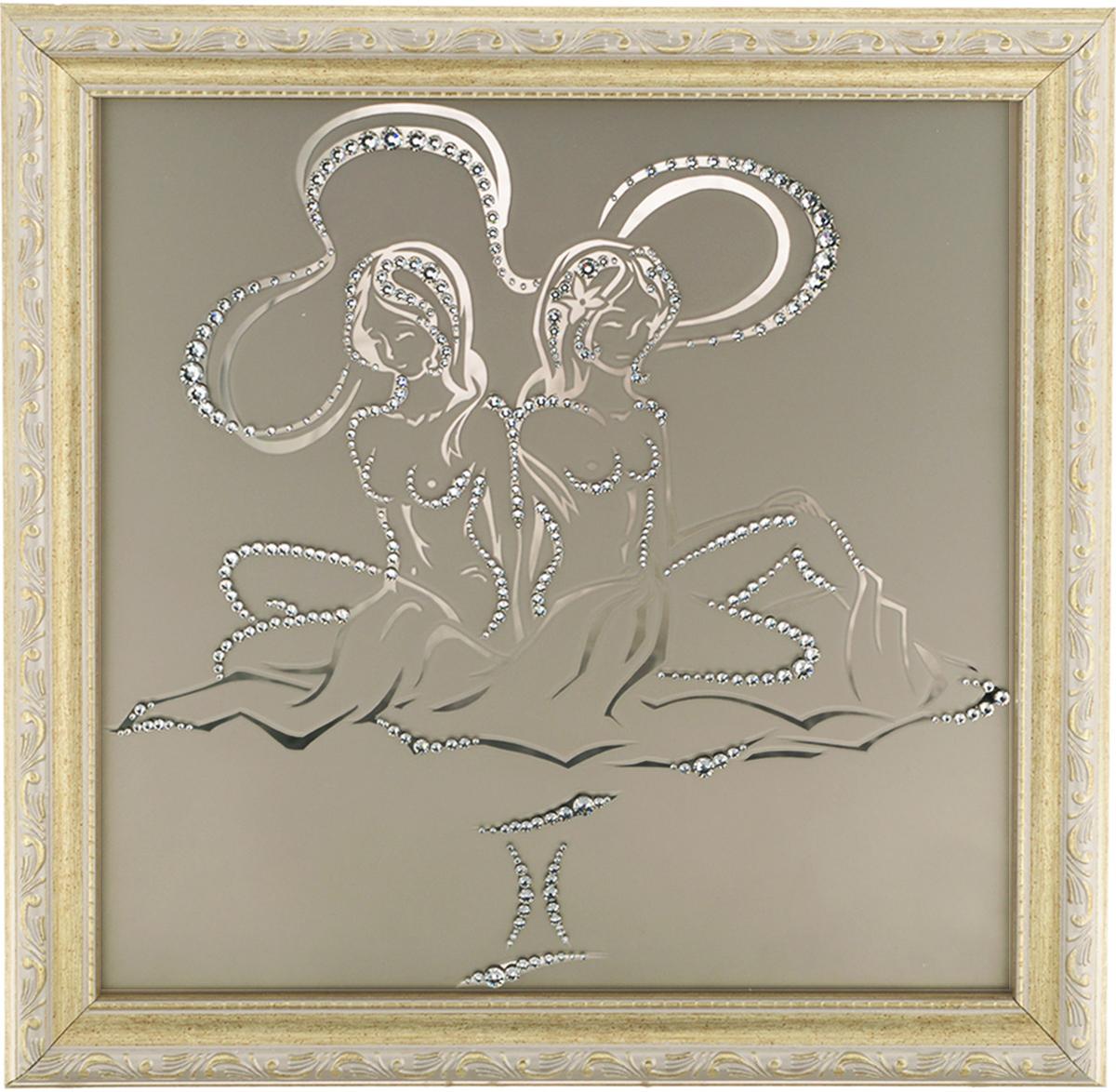 Картина с кристаллами Swarovski Знак зодиака. Близнецы, 35 см х 35 см1128Изящная картина в багетной раме, инкрустирована кристаллами Swarovski в виде знака зодиака - Близнецы на матовом стекле золотистого цвета. Кристаллы Swarovski отличаются четкой и ровной огранкой, ярким блеском и чистотой цвета. С обратной стороны имеется металлическая проволока для размещения картины на стене.Картина с кристаллами Swarovski Знак зодиака. Близнецы элегантно украсит интерьер дома или офиса, а также станет прекрасным подарком, который обязательно понравится получателю. Блеск кристаллов в интерьере, что может быть сказочнее и удивительнее.Картина упакована в подарочную картонную коробку синего цвета и комплектуется сертификатом соответствия Swarovski.