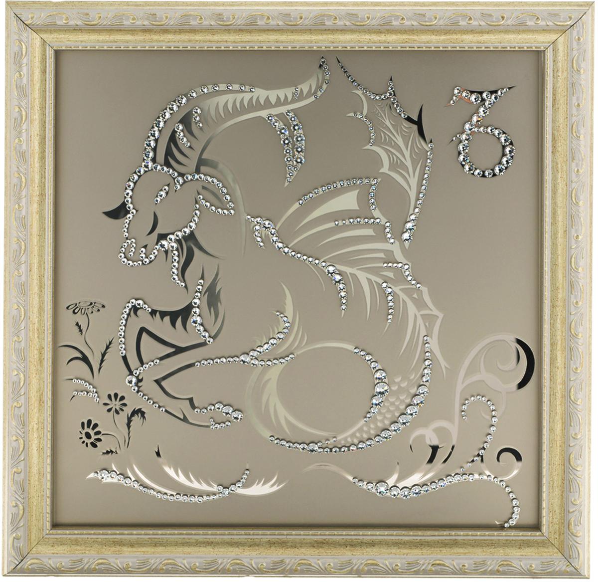 Картина с кристаллами Swarovski Знак зодиака. Козерог, 35 х 35 см1131Изящная картина в багетной раме, инкрустирована кристаллами Swarovski в виде знака зодиака - Козерог на матовом стекле золотистого цвета. Кристаллы Swarovski отличаются четкой и ровной огранкой, ярким блеском и чистотой цвета. С обратной стороны имеется металлическая проволока для размещения картины на стене. Картина с кристаллами Swarovski Знак зодиака. Козерог элегантно украсит интерьер дома или офиса, а также станет прекрасным подарком, который обязательно понравится получателю. Блеск кристаллов в интерьере, что может быть сказочнее и удивительнее. Картина упакована в подарочную картонную коробку синего цвета и комплектуется сертификатом соответствия Swarovski.