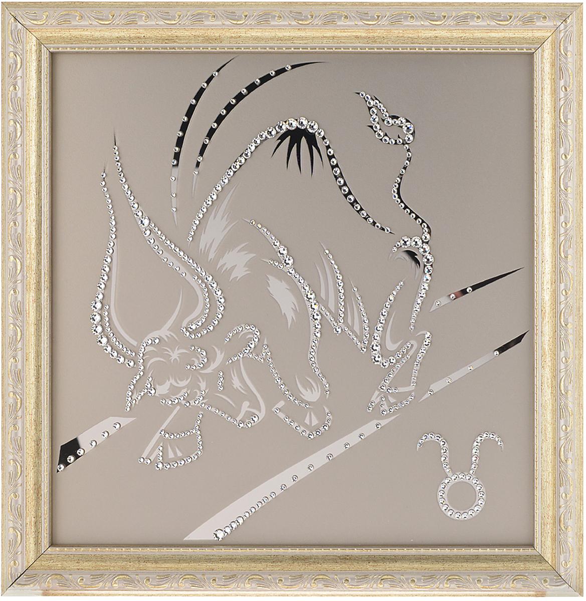 Картина с кристаллами Swarovski Знак зодиака. Телец, 35 см х 35 см1136Изящная картина в багетной раме Знак зодиака. Телец инкрустирована кристаллами Swarovski, которые отличаются четкой и ровной огранкой, ярким блеском и чистотой цвета. Идеально подобранная палитра кристаллов прекрасно дополняет картину. С задней стороны изделие оснащено проволокой для размещения на стене. Картина с кристаллами Swarovski элегантно украсит интерьер дома, а также станет прекрасным подарком, который обязательно понравится получателю. Блеск кристаллов в интерьере - что может быть сказочнее и удивительнее. Изделие упаковано в подарочную картонную коробку синего цвета и комплектуется сертификатом соответствия Swarovski.