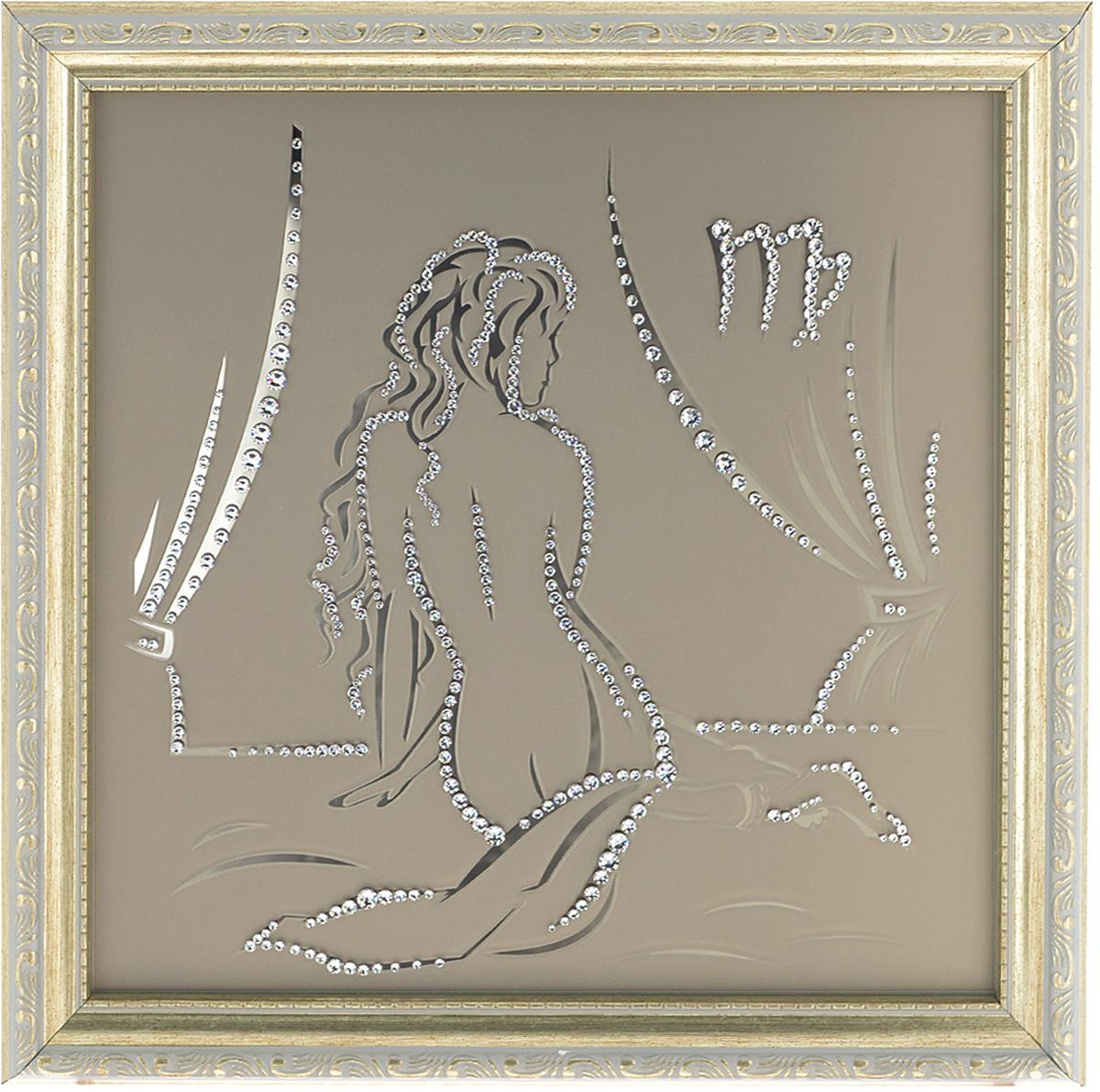 Картина с кристаллами Swarovski Знак зодиака. Дева, 35 х 35 см1137Изящная картина в багетной раме Знак зодиака. Дева инкрустирована кристаллами Swarovski, которые отличаются четкой и ровной огранкой, ярким блеском и чистотой цвета. Идеально подобранная палитра кристаллов прекрасно дополняет картину. С задней стороны изделие оснащено проволокой для размещения на стене. Картина с кристаллами Swarovski элегантно украсит интерьер дома, а также станет прекрасным подарком, который обязательно понравится получателю. Блеск кристаллов в интерьере - что может быть сказочнее и удивительнее. Изделие упаковано в подарочную картонную коробку синего цвета и комплектуется сертификатом соответствия Swarovski.