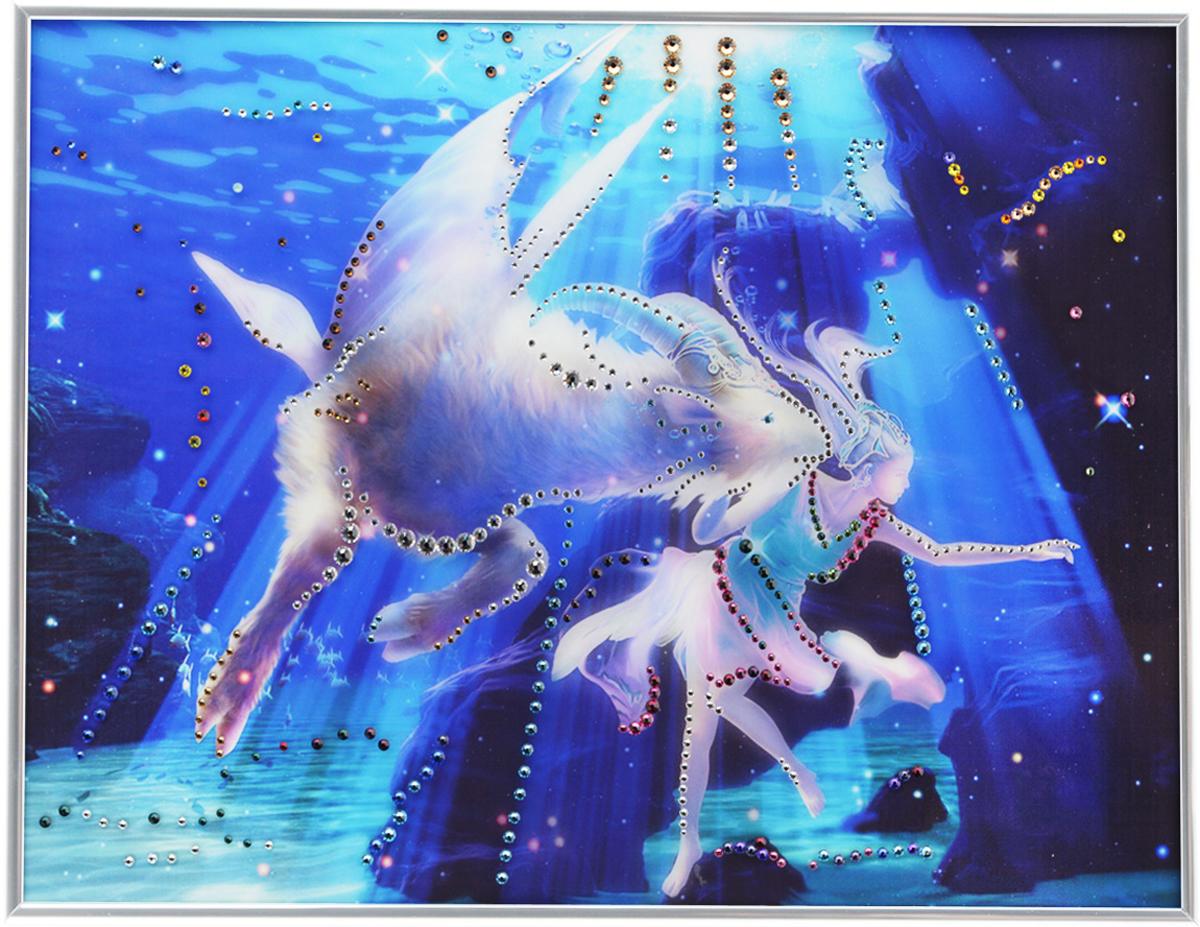 Картина с кристаллами Swarovski Знак зодиака. Козерог Кагая, 40 см х 30 см1143Изящная картина в металлической раме, инкрустирована кристаллами Swarovski, которые отличаются четкой и ровной огранкой, ярким блеском и чистотой цвета. Красочное изображение знака зодиака - козерог Кагая, расположенное под стеклом, прекрасно дополняет блеск кристаллов. С обратной стороны имеется металлическая петелька для размещения картины на стене.Картина с кристаллами Swarovski Знак зодиака. Козерог Кагая элегантно украсит интерьер дома или офиса, а также станет прекрасным подарком, который обязательно понравится получателю. Блеск кристаллов в интерьере, что может быть сказочнее и удивительнее.Картина упакована в подарочную картонную коробку синего цвета и комплектуется сертификатом соответствия Swarovski.
