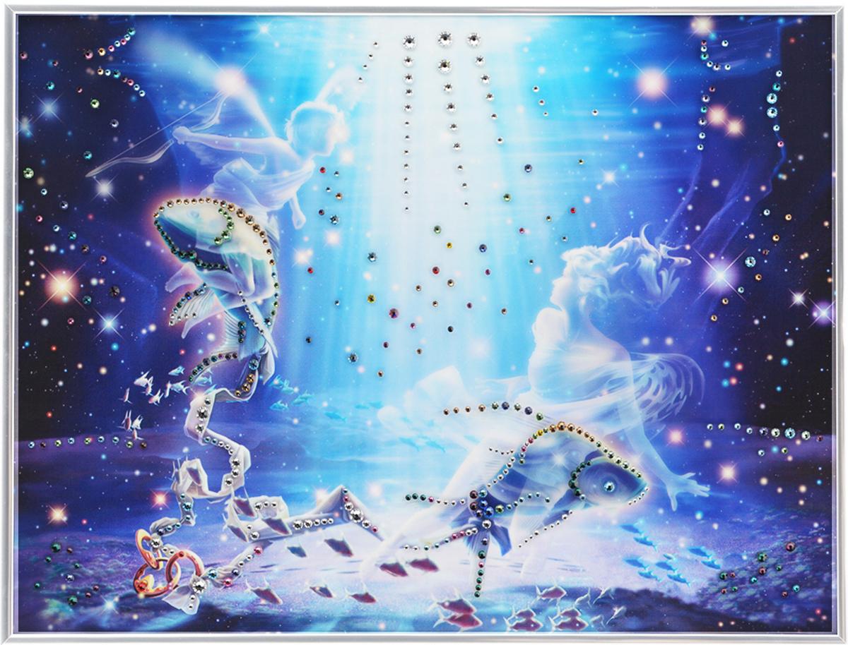 Картина с кристаллами Swarovski Знак зодиака. Рыбы Кагая, 40 см х 30 см1147Изящная картина в металлической раме, инкрустирована кристаллами Swarovski, которые отличаются четкой и ровной огранкой, ярким блеском и чистотой цвета. Красочное изображение знака зодиака - рыбы Кагая, расположенное под стеклом, прекрасно дополняет блеск кристаллов. С обратной стороны имеется металлическая петелька для размещения картины на стене.Картина с кристаллами Swarovski Знак зодиака. Рыбы Кагая элегантно украсит интерьер дома или офиса, а также станет прекрасным подарком, который обязательно понравится получателю. Блеск кристаллов в интерьере, что может быть сказочнее и удивительнее.Картина упакована в подарочную картонную коробку синего цвета и комплектуется сертификатом соответствия Swarovski.
