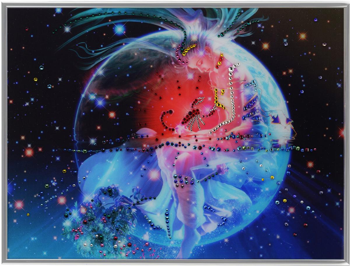Картина с кристаллами Swarovski Знак зодиака. Скорпион Кагая, 40 х 30 см1148Изящная картина в металлической раме, инкрустирована кристаллами Swarovski, которые отличаются четкой и ровной огранкой, ярким блеском и чистотой цвета. Красочное изображение знака зодиака - скорпион Кагая, расположенное под стеклом, прекрасно дополняет блеск кристаллов. С обратной стороны имеется металлическая петелька для размещения картины на стене.Картина с кристаллами Swarovski Знак зодиака. Скорпион Кагая элегантно украсит интерьер дома или офиса, а также станет прекрасным подарком, который обязательно понравится получателю. Блеск кристаллов в интерьере, что может быть сказочнее и удивительнее.Картина упакована в подарочную картонную коробку синего цвета и комплектуется сертификатом соответствия Swarovski.