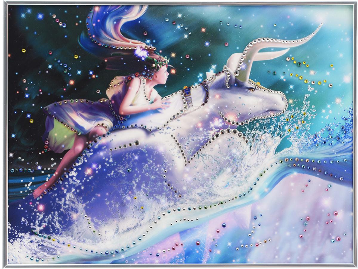 Картина с кристаллами Swarovski Знак зодиака. Телец Кагая, 40 х 30 см1150Изящная картина в металлической раме, инкрустирована кристаллами Swarovski, которые отличаются четкой и ровной огранкой, ярким блеском и чистотой цвета. Красочное изображение знака зодиака - телец Кагая, расположенное под стеклом, прекрасно дополняет блеск кристаллов. С обратной стороны имеется металлическая петелька для размещения картины на стене. Картина с кристаллами Swarovski Знак зодиака. Телец Кагая элегантно украсит интерьер дома или офиса, а также станет прекрасным подарком, который обязательно понравится получателю. Блеск кристаллов в интерьере, что может быть сказочнее и удивительнее. Картина упакована в подарочную картонную коробку синего цвета и комплектуется сертификатом соответствия Swarovski.