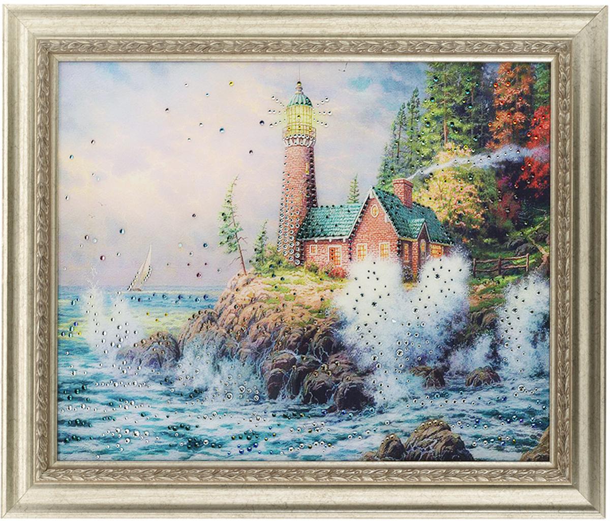 Картина с кристаллами Swarovski Маяк на берегу, 60 х 50 см1208Изящная картина в багетной раме, инкрустирована кристаллами Swarovski, которые отличаются четкой и ровной огранкой, ярким блеском и чистотой цвета. Красочное изображение маяка на берегу, расположенное под стеклом, прекрасно дополняет блеск кристаллов. С обратной стороны имеется металлическая проволока для размещения картины на стене. Картина с кристаллами Swarovski Маяк на берегу элегантно украсит интерьер дома или офиса, а также станет прекрасным подарком, который обязательно понравится получателю. Блеск кристаллов в интерьере, что может быть сказочнее и удивительнее. Картина упакована в подарочную картонную коробку синего цвета и комплектуется сертификатом соответствия Swarovski.