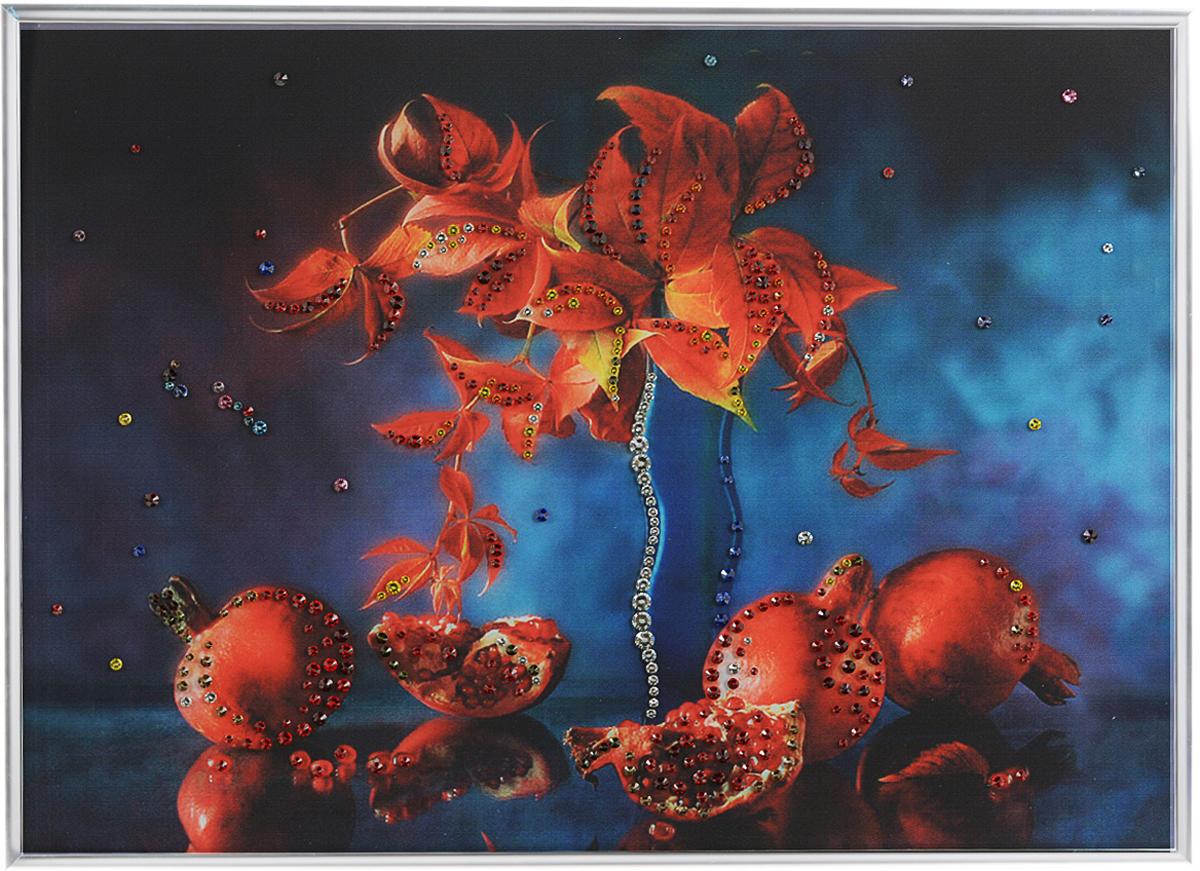 Картина с кристаллами Swarovski Натюрморт гранат, 40 см х 30 см1223Изящная картина в металлической раме, инкрустирована кристаллами Swarovski, которые отличаются четкой и ровной огранкой, ярким блеском и чистотой цвета. Красочное изображение граната, расположенное под стеклом, прекрасно дополняет блеск кристаллов. С обратной стороны имеется металлическая петелька для размещения картины на стене.Картина с кристаллами Swarovski Натюрморт гранат элегантно украсит интерьер дома или офиса, а также станет прекрасным подарком, который обязательно понравится получателю. Блеск кристаллов в интерьере, что может быть сказочнее и удивительнее. Картина упакована в подарочную картонную коробку синего цвета и комплектуется сертификатом соответствия Swarovski.