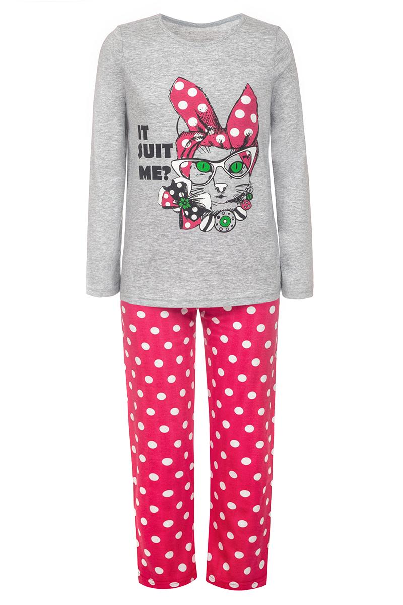Пижама для девочки M&D, цвет: разноцветный. ПЖ180901М82. Размер 134ПЖ180901М82