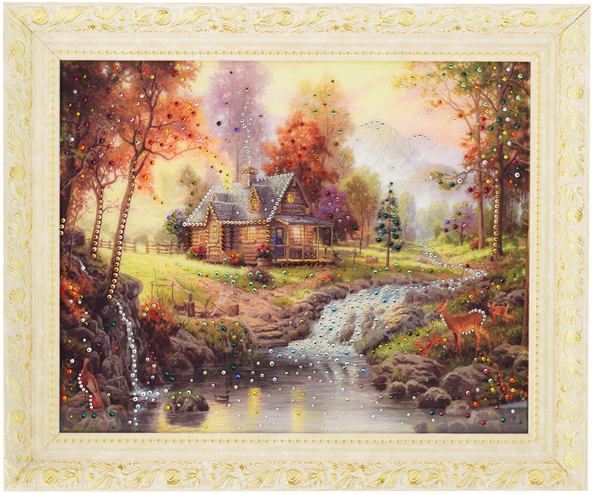 Картина с кристаллами Swarovski Домик в лесу, 60 х 50 см1094Изящная картина в багетной раме, инкрустирована кристаллами Swarovski, которые отличаются четкой и ровной огранкой, ярким блеском и чистотой цвета. Красочное изображение домика в лесу, расположенное под стеклом, прекрасно дополняет блеск кристаллов. С обратной стороны имеется металлическая проволока для размещения картины на стене.Картина с кристаллами Swarovski Домик в лесу элегантно украсит интерьер дома или офиса, а также станет прекрасным подарком, который обязательно понравится получателю. Блеск кристаллов в интерьере, что может быть сказочнее и удивительнее.Картина упакована в подарочную картонную коробку синего цвета и комплектуется сертификатом соответствия Swarovski.