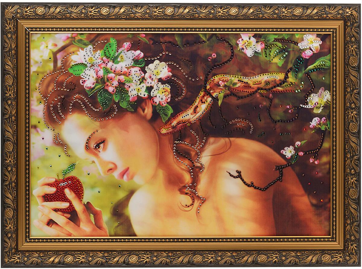 Картина с кристаллами Swarovski Змей искуситель, 70 см х 50 см1115Изящная картина в багетной раме, инкрустирована кристаллами Swarovski, которые отличаются четкой и ровной огранкой, ярким блеском и чистотой цвета. Красочное изображение девушки с яблоком и змеи, расположенное под стеклом, прекрасно дополняет блеск кристаллов. С обратной стороны имеется металлическая проволока для размещения картины на стене. Картина с кристаллами Swarovski Змей искуситель элегантно украсит интерьер дома или офиса, а также станет прекрасным подарком, который обязательно понравится получателю. Блеск кристаллов в интерьере, что может быть сказочнее и удивительнее. Картина упакована в подарочную картонную коробку синего цвета и комплектуется сертификатом соответствия Swarovski.