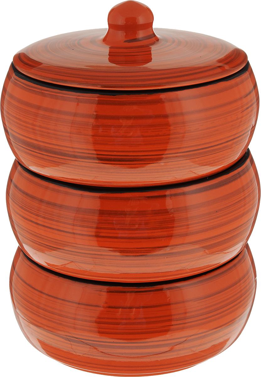 Набор столовой посуды Борисовская керамика Русский, цвет: оранжевый, 4 предмета, 2,7 лРАД14456972_оранжевыйНабор столовой посуды Борисовская керамика Русский состоит из трех мисок и крышки. Изделия выполнены извысококачественной глазурованной керамики.Внутреннее и внешнее покрытие изделий изготовлено изэкологически чистых природных материалов.Такой набор станет отличным подарком и обязательнопригодится в любом хозяйстве.
