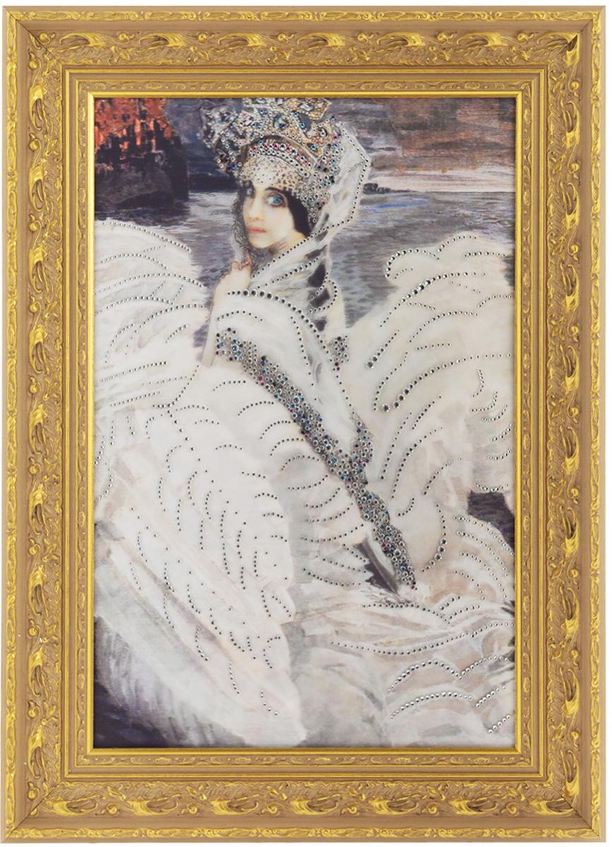 Картина с кристаллами Swarovski Царевна-Лебедь, 59,5 х 81 см1387Изящная картина в багетной раме, инкрустирована кристаллами Swarovski, которые отличаются четкой и ровной огранкой, ярким блеском и чистотой цвета. Красочное изображение прекрасной Царевны-Лебедь, расположенное под стеклом, прекрасно дополняет блеск кристаллов. С обратной стороны имеется металлическая проволока для размещения картины на стене. Картина с кристаллами Swarovski Царевна-Лебедь элегантно украсит интерьер дома или офиса, а также станет прекрасным подарком, который обязательно понравится получателю. Блеск кристаллов в интерьере, что может быть сказочнее и удивительнее.Картина упакована в подарочную картонную коробку синего цвета и комплектуется сертификатом соответствия Swarovski. Размер картины: 59,5 см х 81 см.Количество кристаллов: 1343 шт.