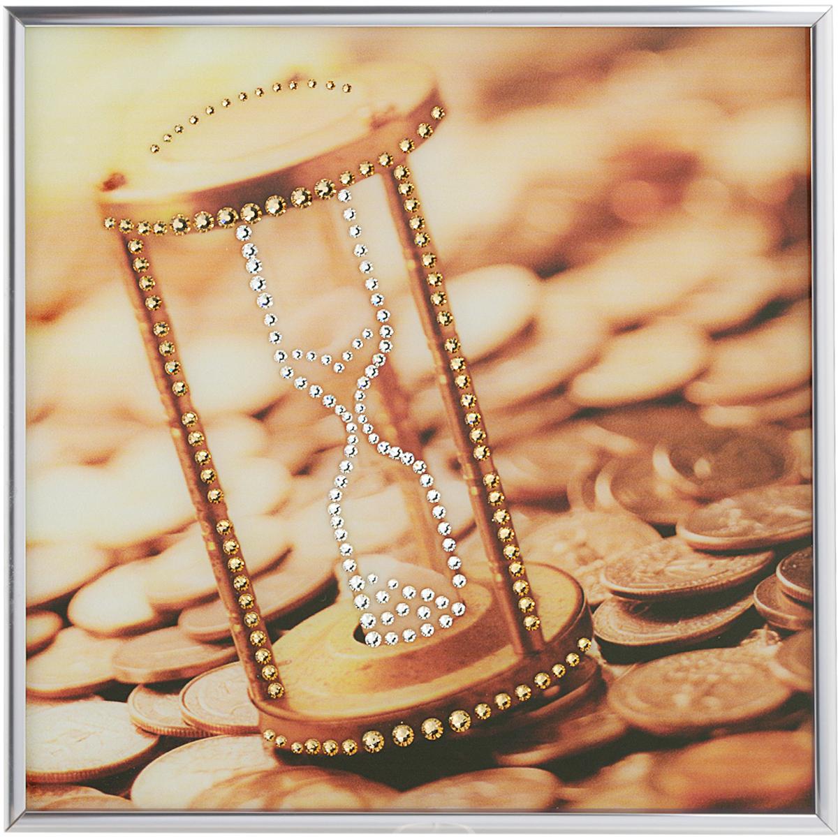 Картина с кристаллами Swarovski Время деньги, 25 х 25 см1395Изящная картина в металлической раме, инкрустирована кристаллами Swarovski, которые отличаются четкой и ровной огранкой, ярким блеском и чистотой цвета. Красочное изображение песочных часов и монет, расположенное под стеклом, прекрасно дополняет блеск кристаллов. С обратной стороны имеется металлическая петелька для размещения картины на стене. Картина с кристаллами Swarovski Время деньги элегантно украсит интерьер дома или офиса, а также станет прекрасным подарком, который обязательно понравится получателю. Блеск кристаллов в интерьере, что может быть сказочнее и удивительнее.Картина упакована в подарочную картонную коробку синего цвета и комплектуется сертификатом соответствия Swarovski.