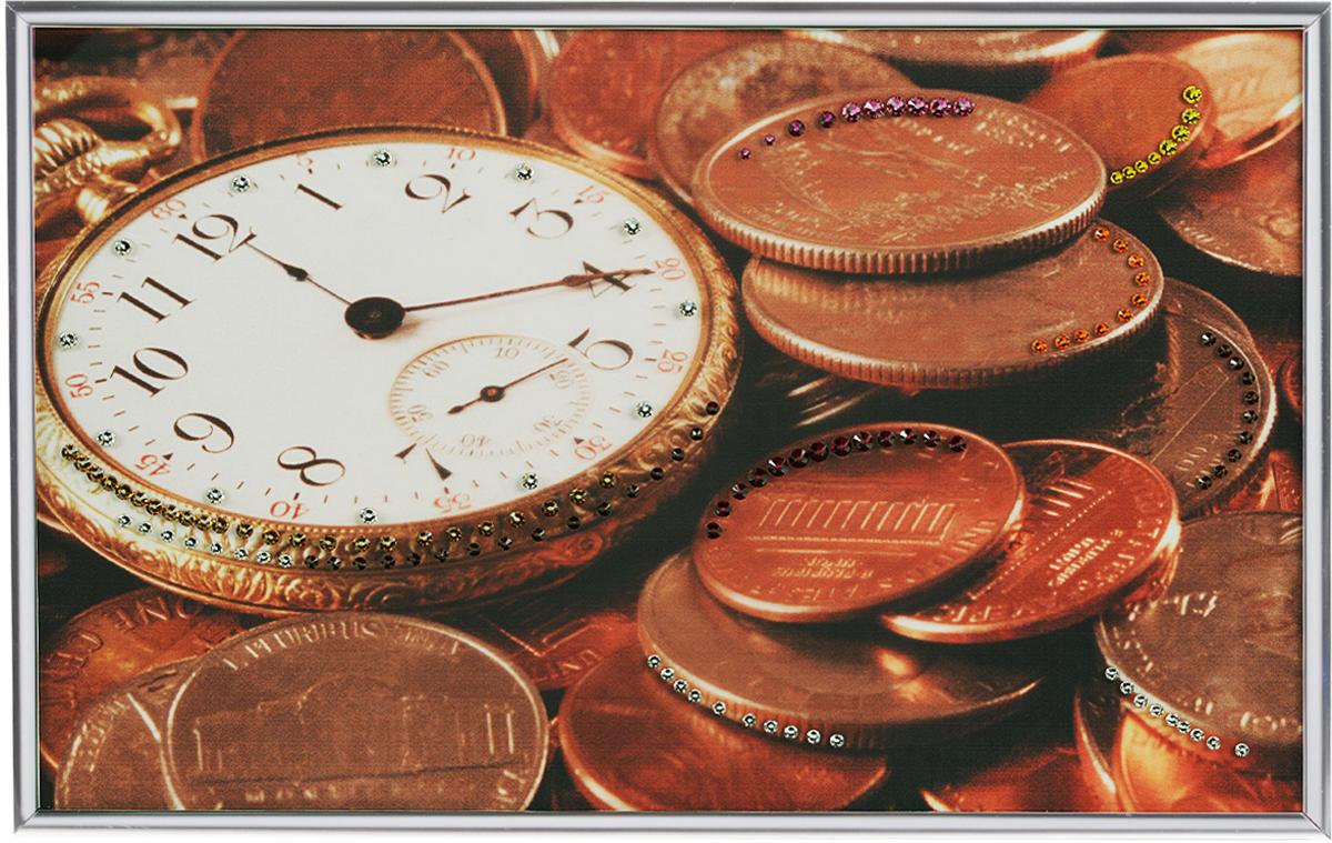 Картина с кристаллами Swarovski Время деньги, 30 см х 20 см1405Изящная картина в металлической раме, инкрустирована кристаллами Swarovski, которые отличаются четкой и ровной огранкой, ярким блеском и чистотой цвета. Красочное изображение часов и монет, расположенное под стеклом, прекрасно дополняет блеск кристаллов. С обратной стороны имеется металлическая петелька для размещения картины на стене. Картина с кристаллами Swarovski Время деньги элегантно украсит интерьер дома или офиса, а также станет прекрасным подарком, который обязательно понравится получателю. Блеск кристаллов в интерьере, что может быть сказочнее и удивительнее.Картина упакована в подарочную картонную коробку синего цвета и комплектуется сертификатом соответствия Swarovski.