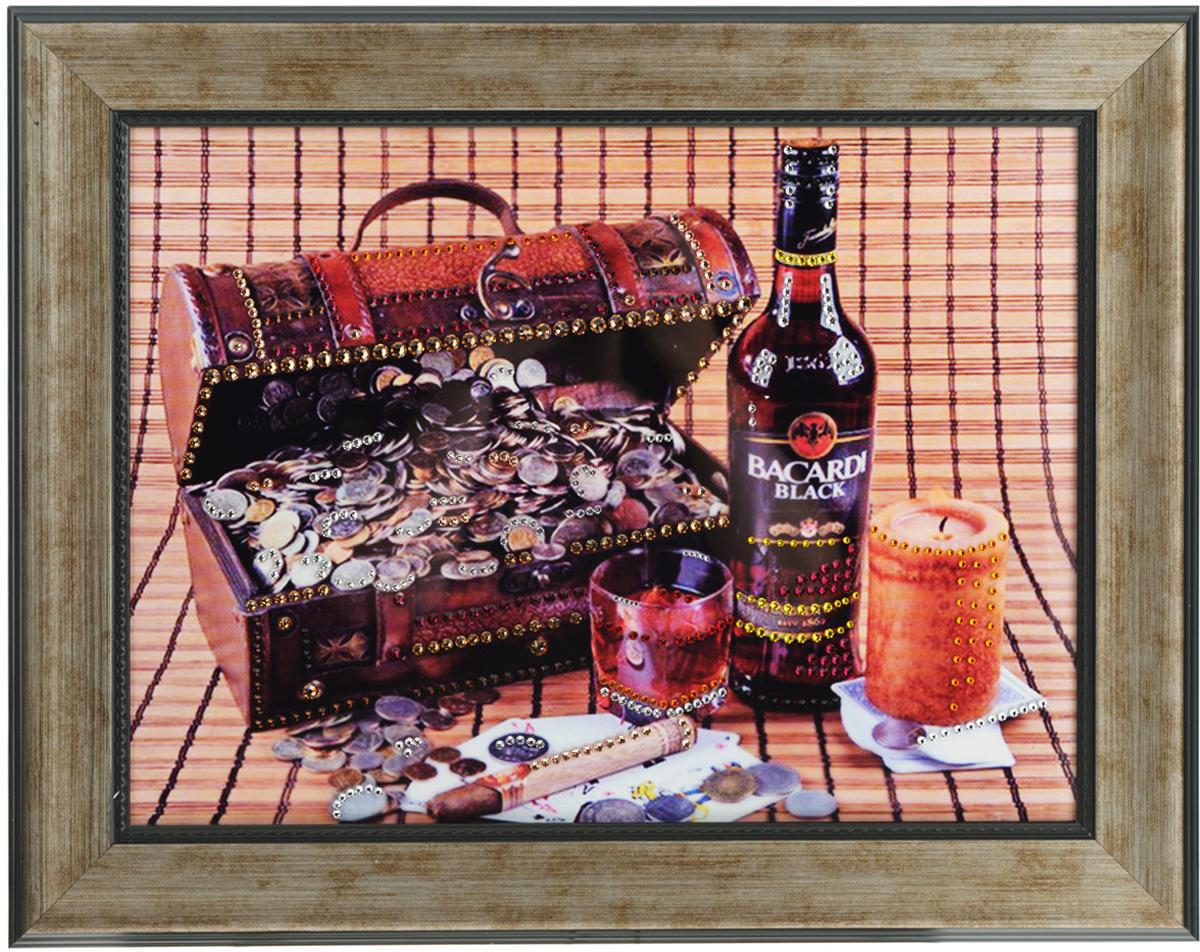 Картина с кристаллами Swarovski Мужской набор, 49 см х 39 см1407Изящная картина в багетной раме, инкрустирована кристаллами Swarovski, которые отличаются четкой и ровной огранкой, ярким блеском и чистотой цвета. Красочное изображение сундучка с деньгами, бутылки виски и сигары, расположенное под стеклом, прекрасно дополняет блеск кристаллов. С обратной стороны имеется металлическая проволока для размещения картины на стене.Картина с кристаллами Swarovski Мужской набор элегантно украсит интерьер дома или офиса, а также станет прекрасным подарком, который обязательно понравится получателю. Блеск кристаллов в интерьере, что может быть сказочнее и удивительнее.Картина упакована в подарочную картонную коробку синего цвета и комплектуется сертификатом соответствия Swarovski.
