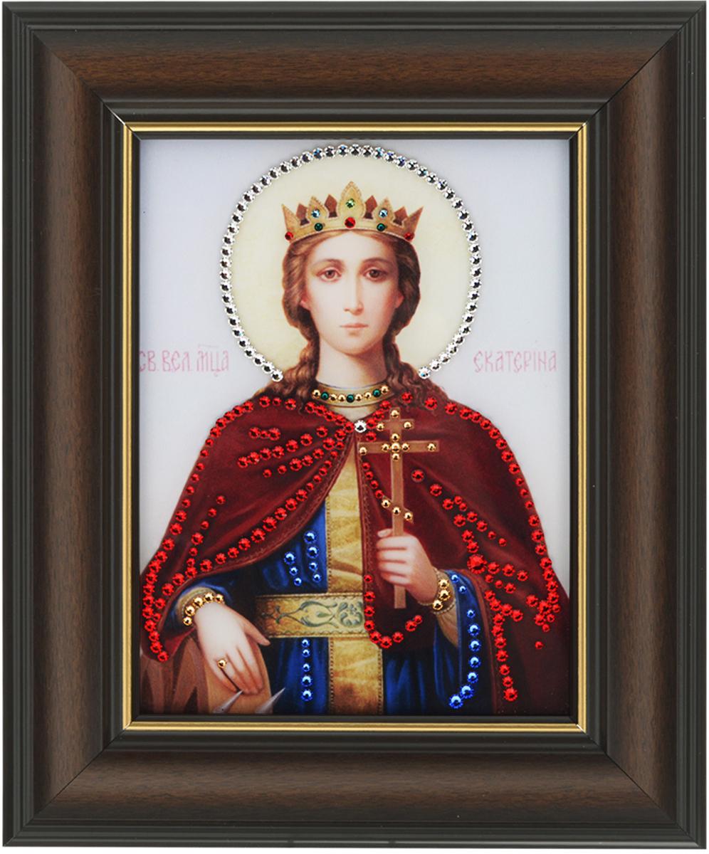 Картина с кристаллами Swarovski Икона. Сватая Великомученица Екатерина, 22,5 см х 27,5 см1410Изящная картина в багетной раме, инкрустирована кристаллами Swarovski, которые отличаются четкой и ровной огранкой, ярким блеском и чистотой цвета. Красочное изображение Иконы Сватая Великомученица Екатерина, расположенное под стеклом, прекрасно дополняет блеск кристаллов. С обратной стороны имеется металлическая проволока для размещения картины на стене. Картина с кристаллами Swarovski Икона. Сватая Великомученица Екатерина элегантно украсит интерьер дома или офиса, а также станет прекрасным подарком, который обязательно понравится получателю. Блеск кристаллов в интерьере, что может быть сказочнее и удивительнее. Картина упакована в подарочную картонную коробку синего цвета и комплектуется сертификатом соответствия Swarovski.