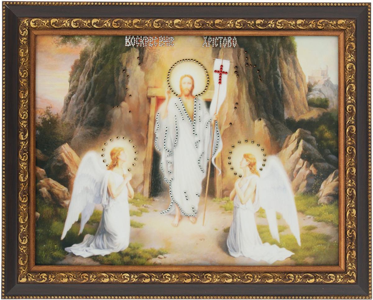 Картина с кристаллами Swarovski Воскресение Христово, 47,5 х 37,5 см1423Изящная картина в багетной раме, инкрустирована кристаллами Swarovski, которые отличаются четкой и ровной огранкой, ярким блеском и чистотой цвета. Красочное изображение Воскресение Христово, расположенное под стеклом, прекрасно дополняет блеск кристаллов. С обратной стороны имеется металлическая проволока для размещения картины на стене. Картина с кристаллами Swarovski Воскресение Христово элегантно украсит интерьер дома или офиса, а также станет прекрасным подарком, который обязательно понравится получателю. Блеск кристаллов в интерьере, что может быть сказочнее и удивительнее. Картина упакована в подарочную картонную коробку синего цвета и комплектуется сертификатом соответствия Swarovski.