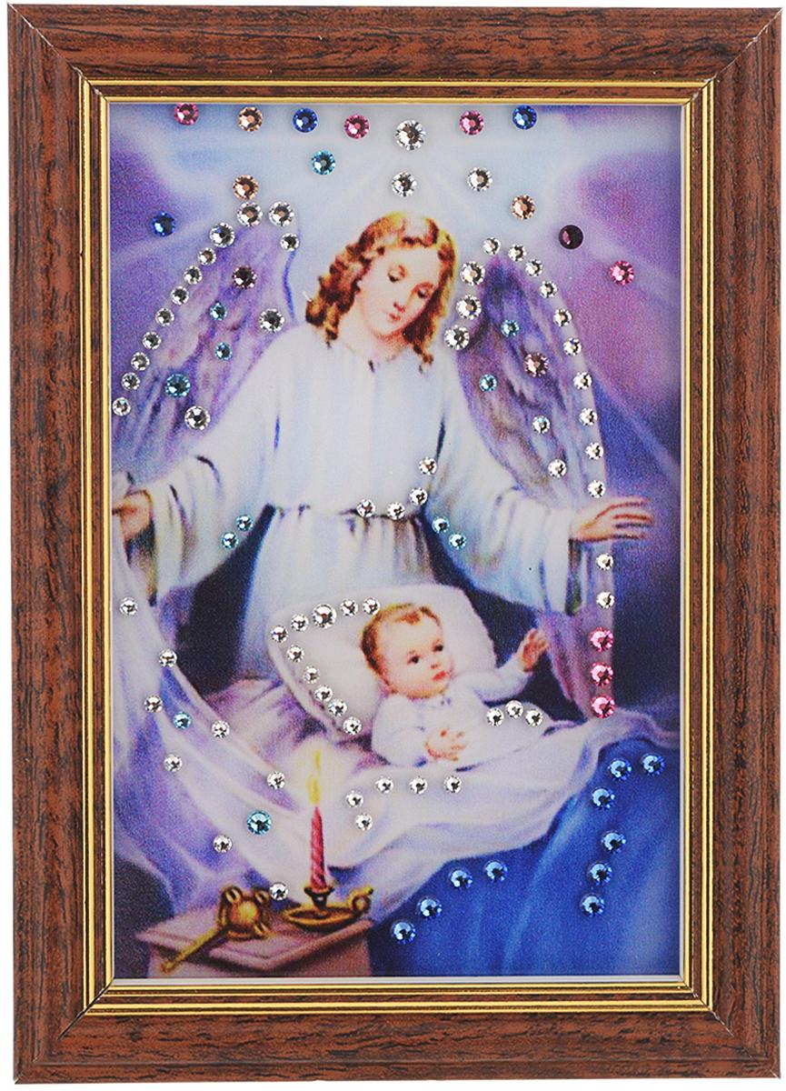 Картина с кристаллами Swarovski Ангел-защитник, 12,5 см х 17 см1446Изящная картина в багетной раме, инкрустирована кристаллами Swarovski, которые отличаются четкой и ровной огранкой, ярким блеском и чистотой цвета. Красочное изображение ангела и ребеночка, расположенное под стеклом, прекрасно дополняет блеск кристаллов. С обратной стороны имеется ножка для размещения картины на столе.Картина с кристаллами Swarovski Ангел-защитник элегантно украсит интерьер дома или офиса, а также станет прекрасным подарком, который обязательно понравится получателю. Блеск кристаллов в интерьере, что может быть сказочнее и удивительнее.Картина упакована в подарочную картонную коробку синего цвета и комплектуется сертификатом соответствия Swarovski.