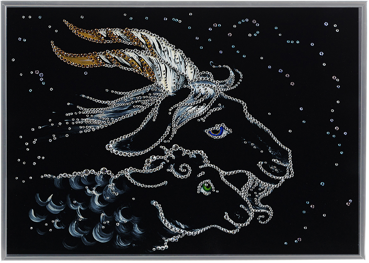 Картина с кристаллами Swarovski Символ года 2015, 40 х 30 см1471Изящная картина в металлической раме, инкрустирована кристаллами Swarovski, которые отличаются четкой и ровной огранкой, ярким блеском и чистотой цвета. Красочное изображение символа 2015 года- овечки и козы, расположенное на внутренней стороне стекла, прекрасно дополняет блеск кристаллов. Под стеклом картина оформлена бархатистой тканью черного цвета. С обратной стороны имеется металлическая петелька для размещения картины на стене. Картина с кристаллами Swarovski Символ года 2015 элегантно украсит интерьер дома или офиса, а также станет прекрасным подарком, который обязательно понравится получателю. Блеск кристаллов в интерьере, что может быть сказочнее и удивительнее.Картина упакована в подарочную картонную коробку синего цвета и комплектуется сертификатом соответствия Swarovski.