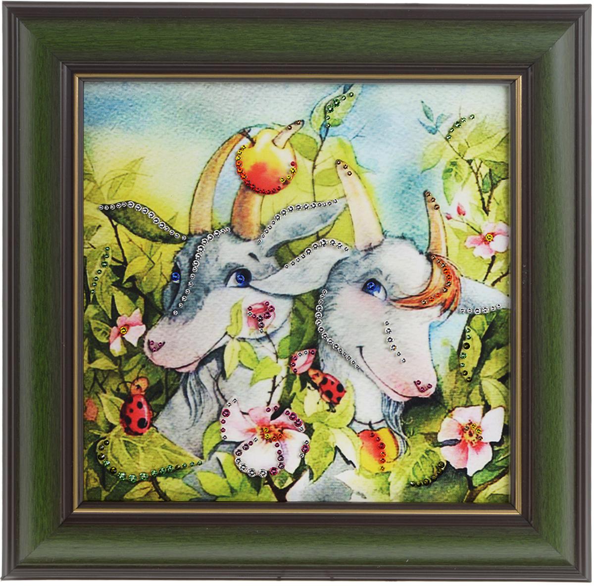 Картина с кристаллами Swarovski Рогатая нежность, 33 х 33 см1548Изящная картина в багетной раме, инкрустирована кристаллами Swarovski, которые отличаются четкой и ровной огранкой, ярким блеском и чистотой цвета. Красочное изображение козликов, расположенное на внутренней стороне стекла, прекрасно дополняет блеск кристаллов. С обратной стороны имеется металлическая проволока для размещения картины на стене. Картина с кристаллами Swarovski Рогатая нежность элегантно украсит интерьер дома или офиса, а также станет прекрасным подарком, который обязательно понравится получателю. Блеск кристаллов в интерьере, что может быть сказочнее и удивительнее. Картина упакована в подарочную картонную коробку синего цвета и комплектуется сертификатом соответствия Swarovski.