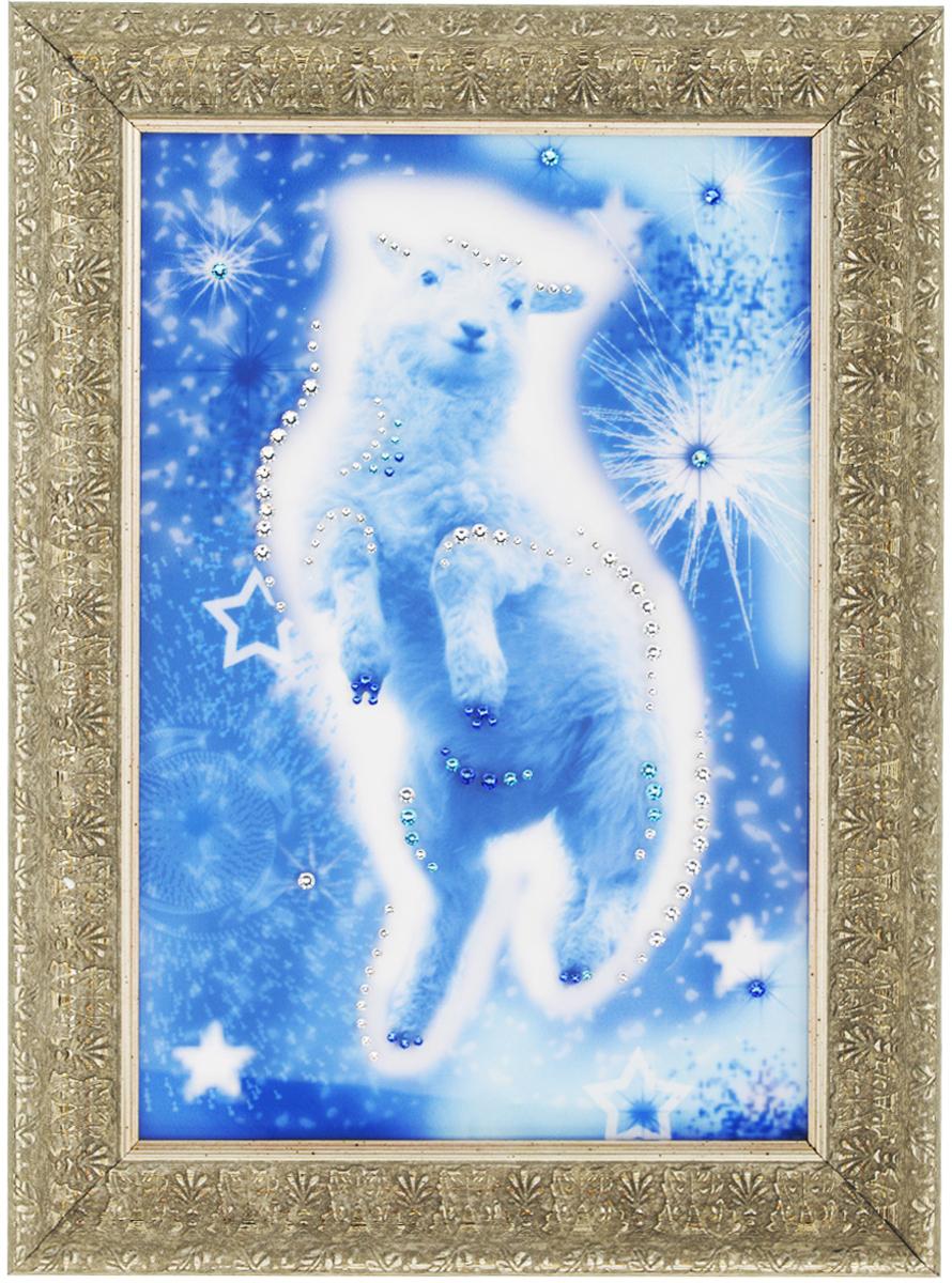 Картина с кристаллами Swarovski Звездная овечка, 29 х 39 см1550Изящная картина в багетной раме, инкрустирована кристаллами Swarovski, которые отличаются четкой и ровной огранкой, ярким блеском и чистотой цвета. Красочное изображение овечки, расположенное под стеклом, прекрасно дополняет блеск кристаллов. С обратной стороны имеется металлическая петелька для размещения картины на стене. Картина с кристаллами Swarovski Звездная овечка элегантно украсит интерьер дома или офиса, а также станет прекрасным подарком, который обязательно понравится получателю. Блеск кристаллов в интерьере, что может быть сказочнее и удивительнее. Картина упакована в подарочную картонную коробку синего цвета и комплектуется сертификатом соответствия Swarovski. Количество кристаллов: 116 шт. Размер картины: 29 см х 39 см.