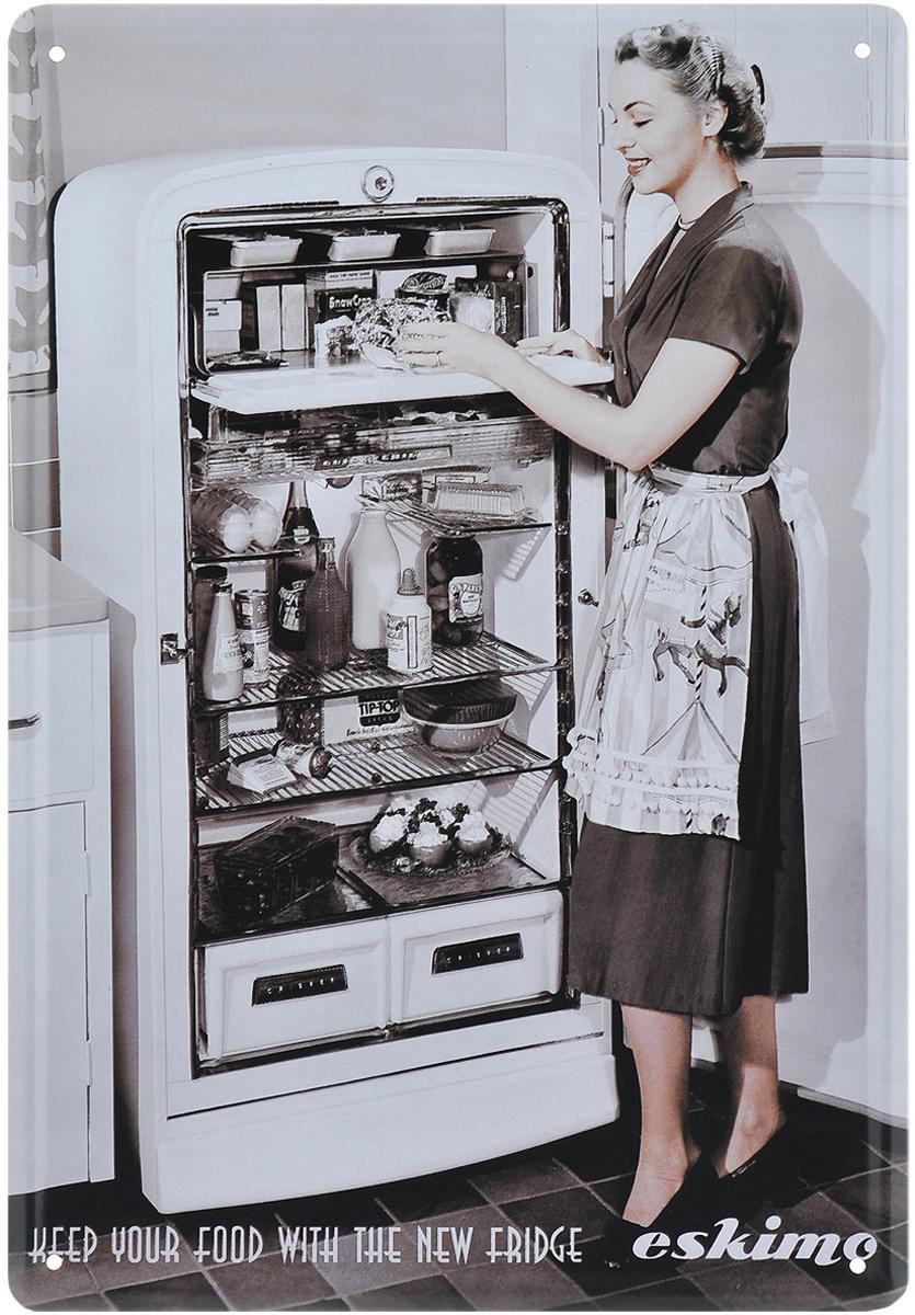 """Постер Феникс-презент """"Холодильник"""" выполнен из черного металла. На постере изображена девушка у открытого холодильника. Постер заинтересует всех любителей оригинальных вещиц и доставит массу положительных эмоций своему обладателю.Картина для интерьера (постер) - современное и актуальное направление в дизайне любых помещений.Постер может использоваться для оформления любых интерьеров:- дом, квартира (гостиная, спальня, кухня); - офис (комната переговоров, холл, кабинет); - бар, кафе, ресторан или гостиница. Из мелочей складывается стиль интерьера. Постер Феникс-презент """"Холодильник"""" одна из тех деталей, которые придают интерьеру обжитой вид и создают ощущение уюта."""