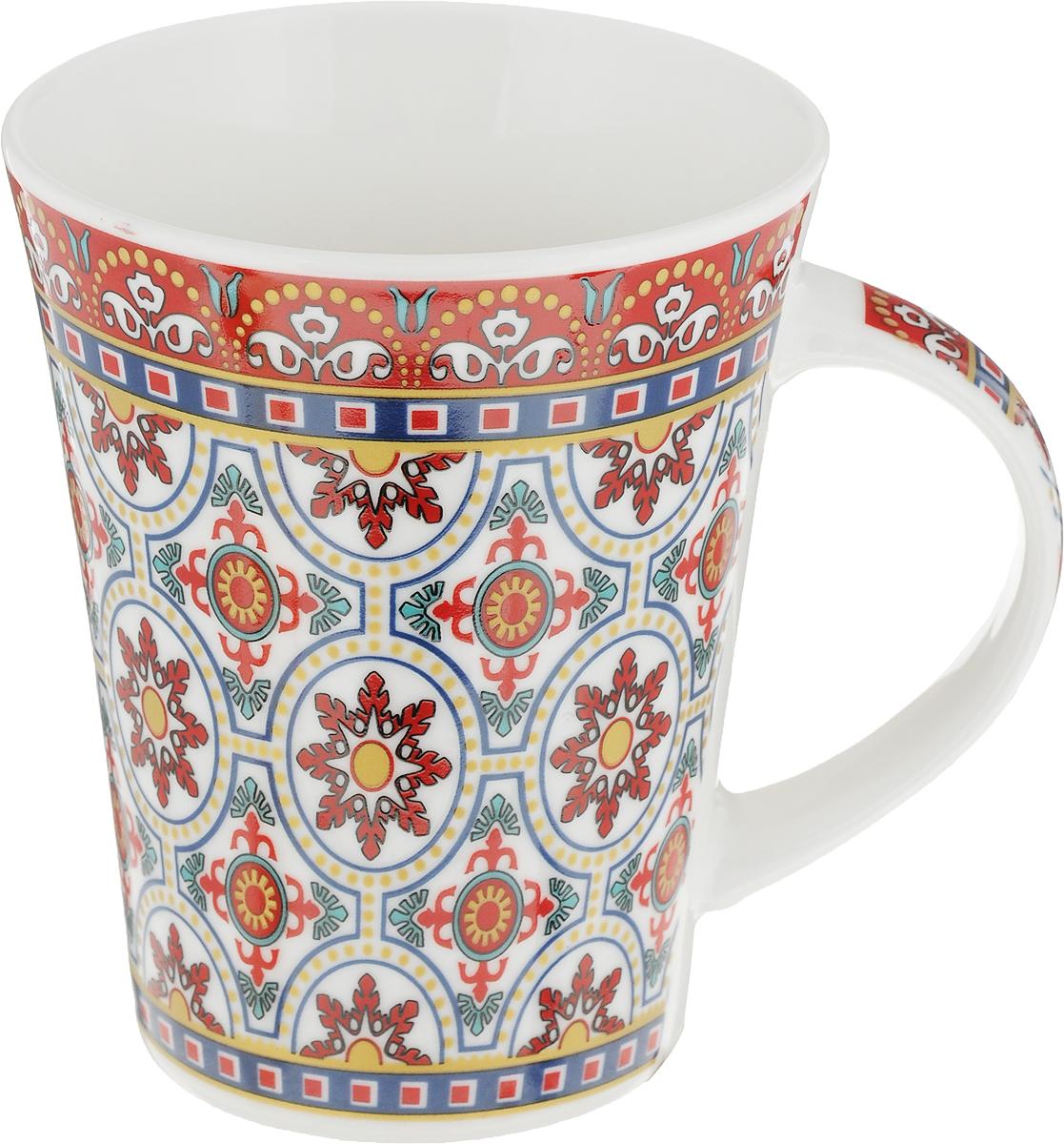 Кружка Ningbo Royal Бухара, цвет: красный, бирюзовый, 330 мл посуда из фарфора оптом