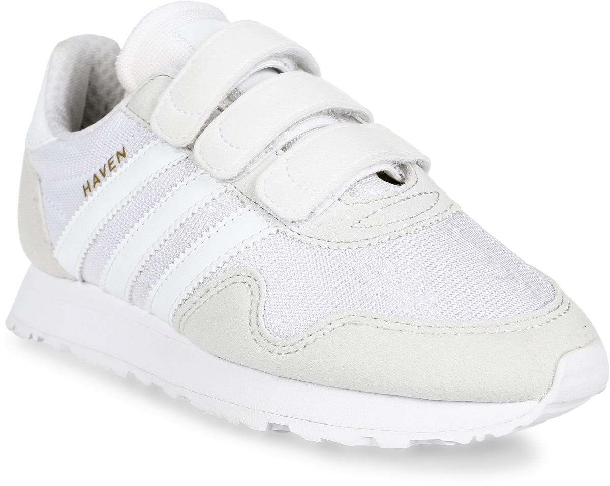 Кроссовки для мальчика adidas Haven CF C, цвет: белый. CM8035. Размер 31,5CM8035Кроссовки от Adidas придутся по душе вашему ребенку. Верх обуви, изготовленный из текстиля, оформлен замшевыми вставками и фирменной нашивкой на язычке. Ремешки с липучками надежно зафиксируют изделие на ноге. Комфортная и функциональная стелька OrthoLite® с антимикробным покрытием. Промежуточная подошва из легкого ЭВА для оптимальной амортизации. Подкладка и стелька из текстиля гарантируют комфорт и уют. Стильные кроссовки займут достойное место в гардеробе вашего ребенка.