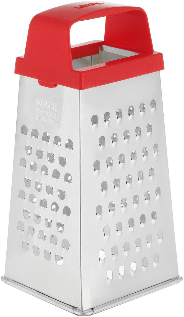 Терка Кварц, четырехгранная, цвет: серебристый, красный, высота 21,5 см. К01.000.07К01.000.07_красныйЧетырехгранная терка Кварц, выполненная из высококачественной жести, станет незаменимым атрибутом приготовления пищи. На одном изделии представлены четыре вида терок. Терка оснащена эргономичной пластиковой ручкой.Терка Кварц станет достойным дополнением к вашему кухонному инвентарю.Высота терки: 21,5 см. Размер основания терки: 10,5 х 8 см.