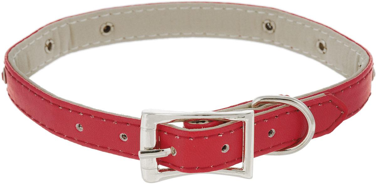 Ошейник для животных GLG, 1,4 x 37,5 смAM-D776/A-375Ошейник для собак GLG изготовлен из искусственной кожи, устойчивой к влажности и перепадам температур. Клеевой слой, сверхпрочные нити, крепкие металлические элементы делают ошейник надежным и долговечным.Изделие отличается высоким качеством, удобством и универсальностью. Ошейник украшен стразами.Размер ошейника регулируется при помощи пряжки, зафиксированной на одном из 5 отверстий. Максимальный обхват шеи: 37,5 см. Ширина: 1,4 см.