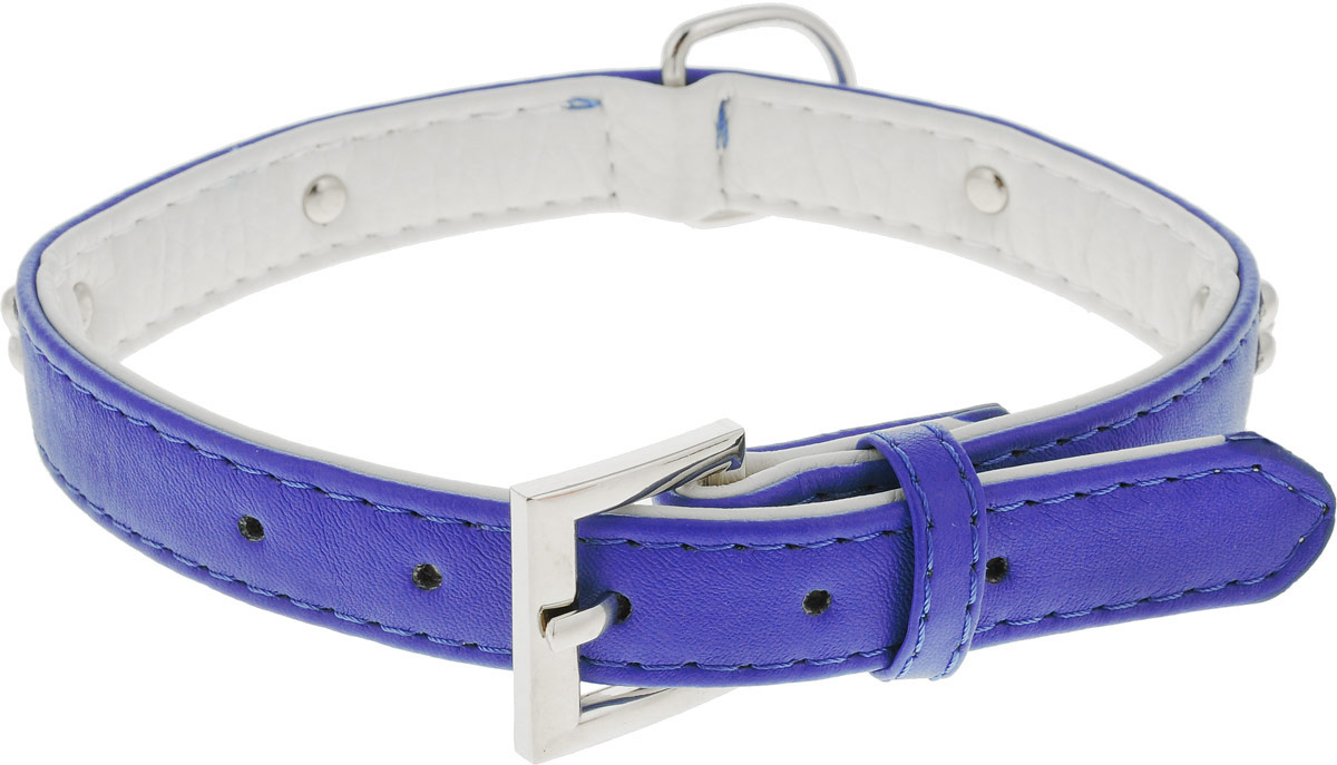 Ошейник для собак GLG, цвет: синий, белый, 1,8 х 44 смAM-DC020/H-44_синий, белыйОшейник GLG изготовлен из искусственной кожи. Клеевой слой, сверхпрочные нити, крепкие металлические элементы делают ошейник надежным и долговечным. Изделие отличается высоким качеством, удобством и универсальностью.Размер ошейника регулируется при помощи металлической пряжки. Имеется металлическое кольцо для крепления поводка. Ваша собака тоже хочет выглядеть стильно! Модный ошейник, декорированный металлическими элементами в виде косточек, станет для питомца отличным украшением и выделит его среди остальных животных. Обхват шеи: 44 см. Ширина: 1,8 см.