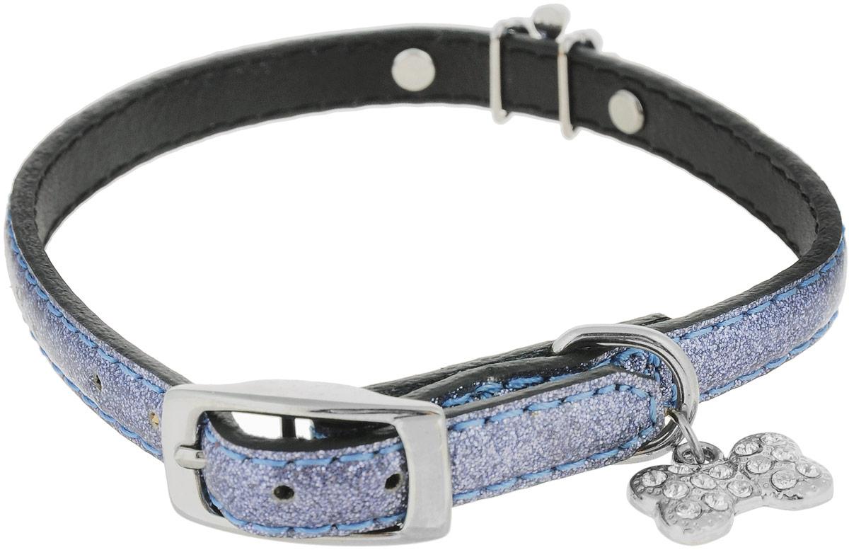Ошейник для собак Camon, 0,8 х 30 смDC010Ошейник изготовлен из искусственной кожи. Клеевой слой, сверхпрочные нити, крепкие металлические элементы делают ошейник надежным и долговечным. Изделие отличается высоким качеством, удобством и универсальностью.Размер ошейника регулируется при помощи металлической пряжки. Имеется металлическое кольцо для крепления поводка. Ваша собака тоже хочет выглядеть стильно! Модный ошейник, декорированный металлическими элементами в виде косточки и короны, станет для питомца отличным украшением и выделит его среди остальных животных. Обхват шеи: 25-30 см. Ширина: 0,8 см.