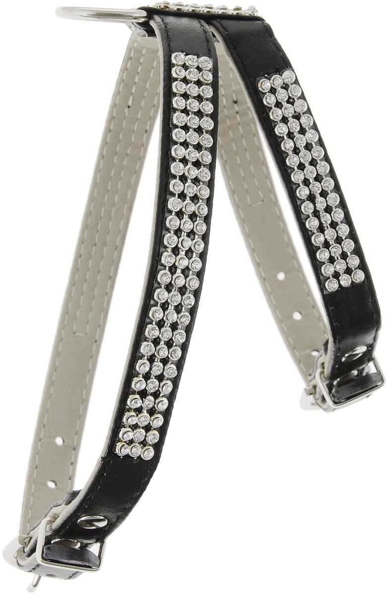Шлейка для собак GLG Silver, цвет: черный, 32/40 смAM-DC095/C-40Шлейка для собак GLG Silver, украшенная металлической вставкой и стразами подходит для собак средних пород. Крепкие металлические элементы делают ее надежной и долговечной. Шлейка - это альтернатива ошейнику. Правильно подобранная шлейка не стесняет движения питомца, не натирает кожу, поэтому животное чувствует себя в ней уверенно и комфортно. Изделие отличается высоким качеством, удобством и универсальностью. Имеется металлическое кольцо для крепления поводка. Размер регулируется при помощи пряжек.Обхват шеи - 32 см.Обхват груди - 40 см.