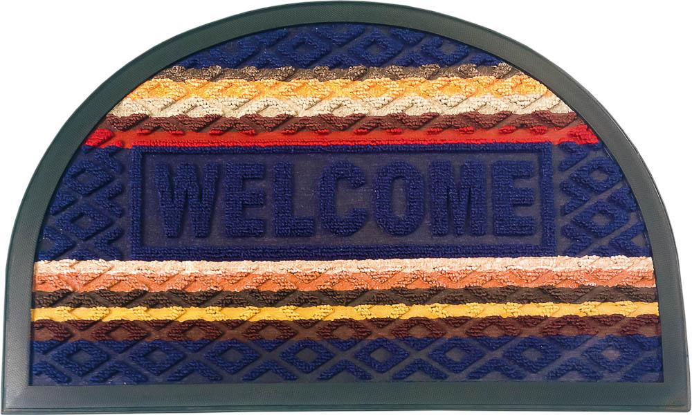 """Коврик придверный Vortex Comfort """"Welcome"""", цвет: синий, 40 х 60 см"""