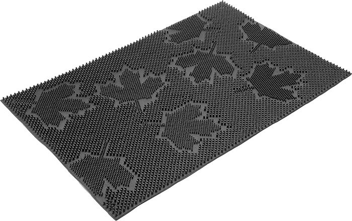 Коврик придверный Vortex Клен, грязесборный, цвет: черный, 40 х 60 см22463Коврик придверный Vortex Клен изготовлен из прочной и долговечной резины. Конструкция коврика имеет специальные ребра, которые помогают более эффективно удалять грязь с обуви. Коврик придверный Vortex Клен надежно защитит помещение от уличной пыли и грязи