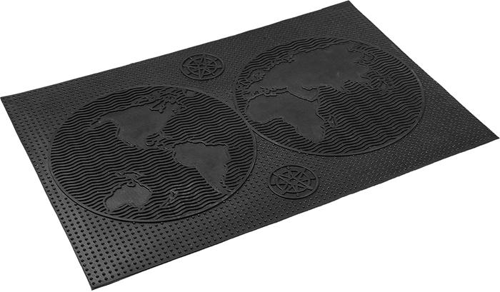 Коврик придверный Vortex Континенты, грязесборный, цвет: черный, 40 х 60 см коврик придверный vortex листья 76 46 см