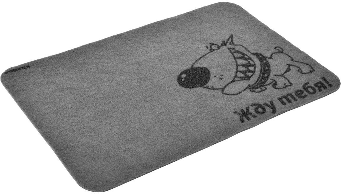 """Коврик влаговпитывающий Vortex """"Жду тебя!"""" - это надежный придверный коврик, который подойдет для использования как внутри помещения, так и снаружи. Коврик подойдет для использования и в летний период под палящим солнцем, и в зимние морозы. Плотный ПВХ задерживает грязь, после чего изделие легко стряхнуть или промыть под водой. Прорезиненная основа предотвращает скольжение по гладкой поверхности, вы можете не переживать, что из-за неловкого движения коврик может """"уехать"""" в сторону, а вы потеряете равновесие. Ворс - 100% полиэстер."""