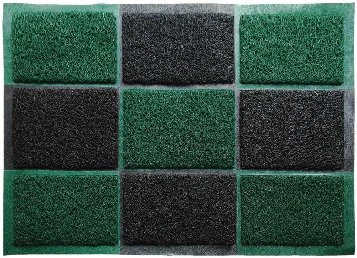 """Придверный влаговпитывающий коврик """"Vortex"""" черно-зеленого цвета выполнен из ПВХ и полиэстера. Он прост в обслуживании, прочный и устойчивый к различным погодным условиям. Лицевая сторона коврика ребристая. Прорезиненная основа коврика предотвращает его скольжение по гладкой поверхности и обеспечивает надежную фиксацию. Такой коврик надежно защитит помещение от уличной пыли и грязи"""
