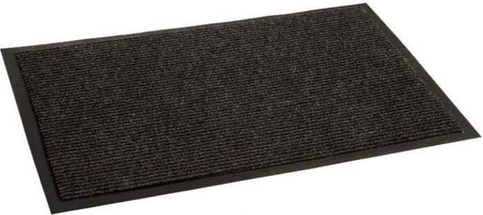 Коврик придверный In'Loran Комфорт, влаговпитывающий, ребристый, цвет: черный, 120 х 150 см коврик придверный vortex профи влаговпитывающий цвет темно серый 120 х 150 см