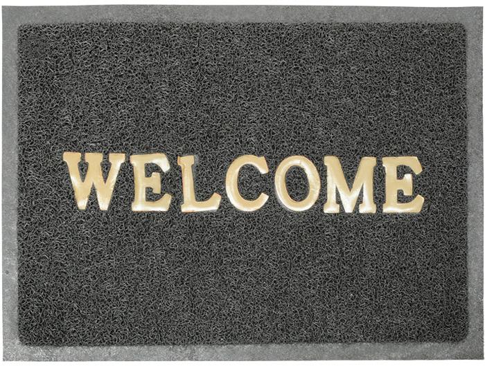 Коврик придверный Vortex Welcome, цвет: серый, 40 см х 60 см коврик придверный welcome цветы moikovrik