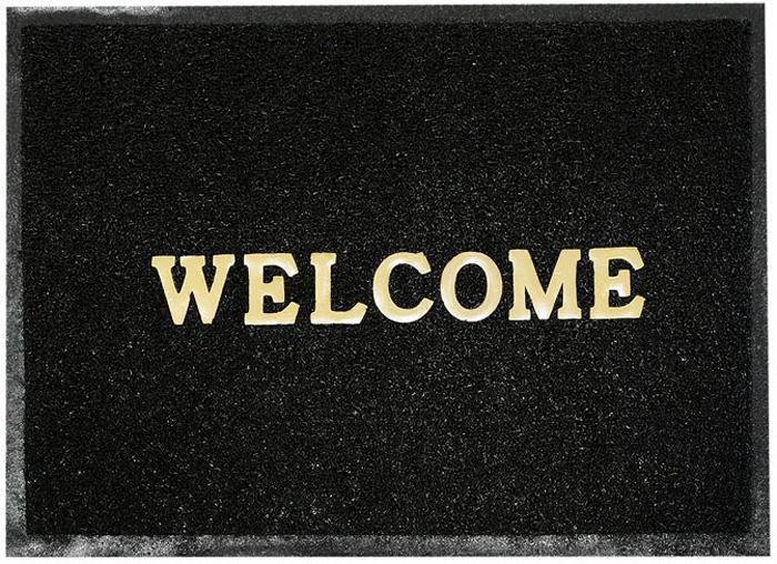 Коврик придверный Vortex Welcome, цвет: черный, 50 см х 70 см коврик придверный vortex листья 76 46 см