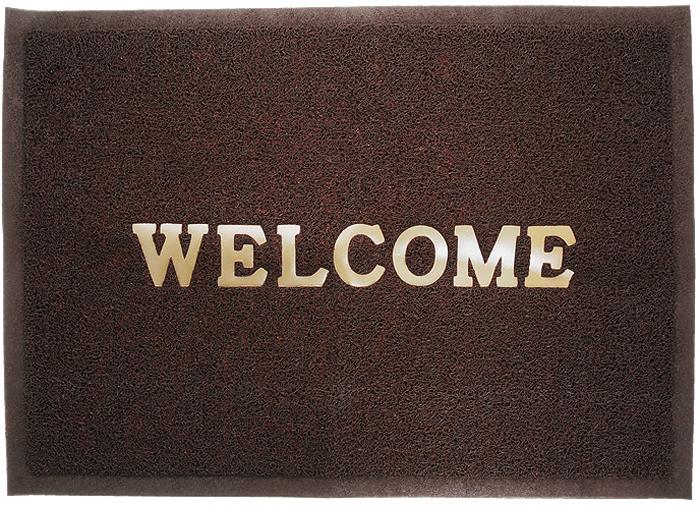 Коврик придверный Vortex Welcome, цвет: коричневый, 50 см х 70 см коврик придверный 35х60 см черный свинка vortex 20028
