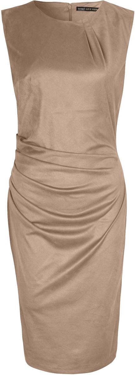 Платье Love Republic, цвет: светло-бежевый. 8152106526_61. Размер 468152106526_61Платье Love Republic выполнено из полиэстера. Изделие с круглой горловиной имеет приталенный силуэт. Платье застегивается сзади на молнию.
