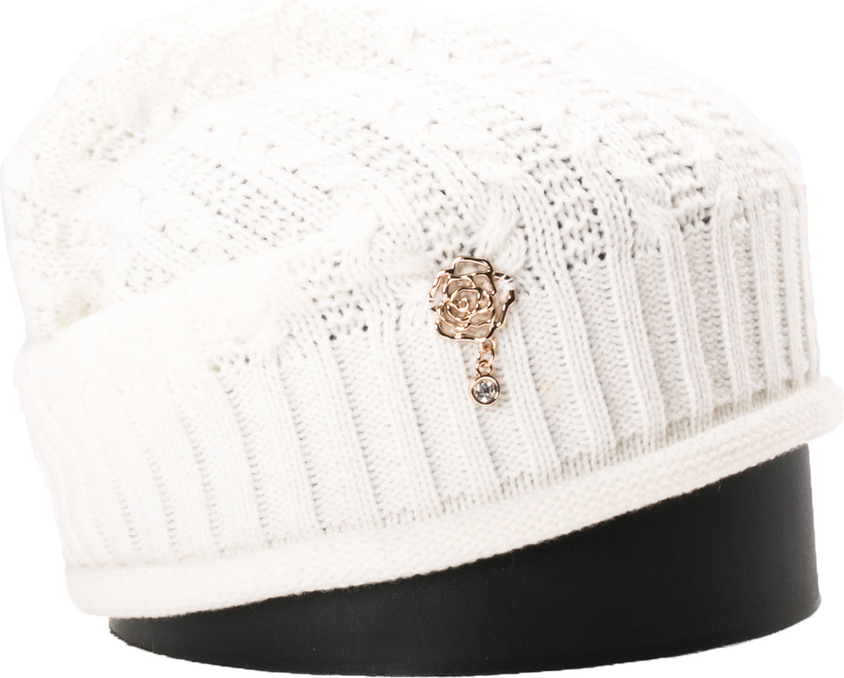 Шапка женская Vittorio Richi, цвет: белый. NSH150815. Размер 56/58NSH150815Стильная женская шапка Vittorio Richi отлично дополнит ваш образ в холодную погоду. Модель, изготовленная из шерсти с добавлением акрила, максимально сохраняет тепло и обеспечивает удобную посадку. Шапка дополнена ажурной вязкой и сбоку декоративным элементом. Привлекательная стильная шапка подчеркнет ваш неповторимый стиль и индивидуальность.