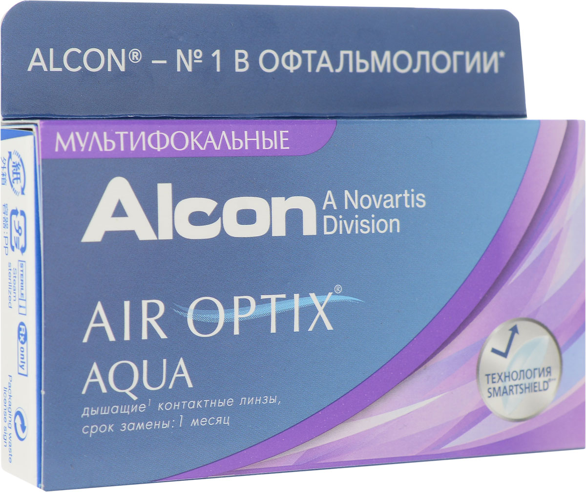 Alcon-CIBA Vision контактные линзы Air Optix Aqua Multifocal (3шт / 8.6 / 14.2 / +1.00 / Low)38432Контактные линзы Air Optix Aqua Multifocal предназначены для коррекции возрастной дальнозоркости. Если для работы вблизи или просто для чтения вам необходимо использовать очки, то эти линзы помогут вам избавиться от них. В линзах Air Optix Aqua Multifocal вы будете одинаково четко видеть как предметы, расположенные вблизи, так и удаленные предметы. Линзы изготовлены из силикон-гидрогелевого материала лотрафилкон Б, который пропускает в 5 раз больше кислорода по сравнению с обычными гидрогелевыми линзами. Они настолько комфортны и безопасны в ношении, что вы можете не снимать их до 6 суток. Но даже если вы не собираетесь окончательно сменить очки на линзы, мы рекомендуем вам иметь хотя бы одну пару таких линз для экстремальных ситуаций, например для занятий спортом. Контактные линзы Air Optix Aqua Multifocal имеют три степени аддидации: Low (низкую) до +1.00; Medium (среднюю) от +1.25 до +2.00 и High (высокую) свыше +2.00. Характеристики:Материал: лотрафилкон Б. Кривизна: 8.6. Оптическая сила: + 1.00. Содержание воды: 33%. Диаметр: 14,2 мм. Cтепень аддидации: Low (низкая). Количество линз: 3 шт. Размер упаковки: 9 см х 5 см х 1 см. Производитель: Малайзия. Товар сертифицирован.Контактные линзы или очки: советы офтальмологов. Статья OZON Гид