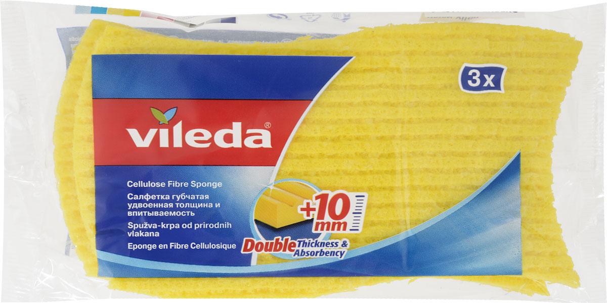 Набор губок для кухни Vileda, 3 шт3523-4Набор Vileda состоит из трех губок. Губки изготовлены из натуральных материалов и предназначены для всех видов домашних работ. Губки имеют удобную волнообразную форму и отлично впитывают влагу. Моют, не оставляя разводов и ворсинок. Характеристики:Материал: 73% целлюлоза, 27% хлопок. Размер: 16 см х 9 см х 1 см. Производитель: Швеция. Артикул: 3523-4.Уважаемые клиенты! Обращаем ваше внимание на то, что упаковка может иметь несколько видов дизайна. Поставка осуществляется в зависимости от наличия на складе.
