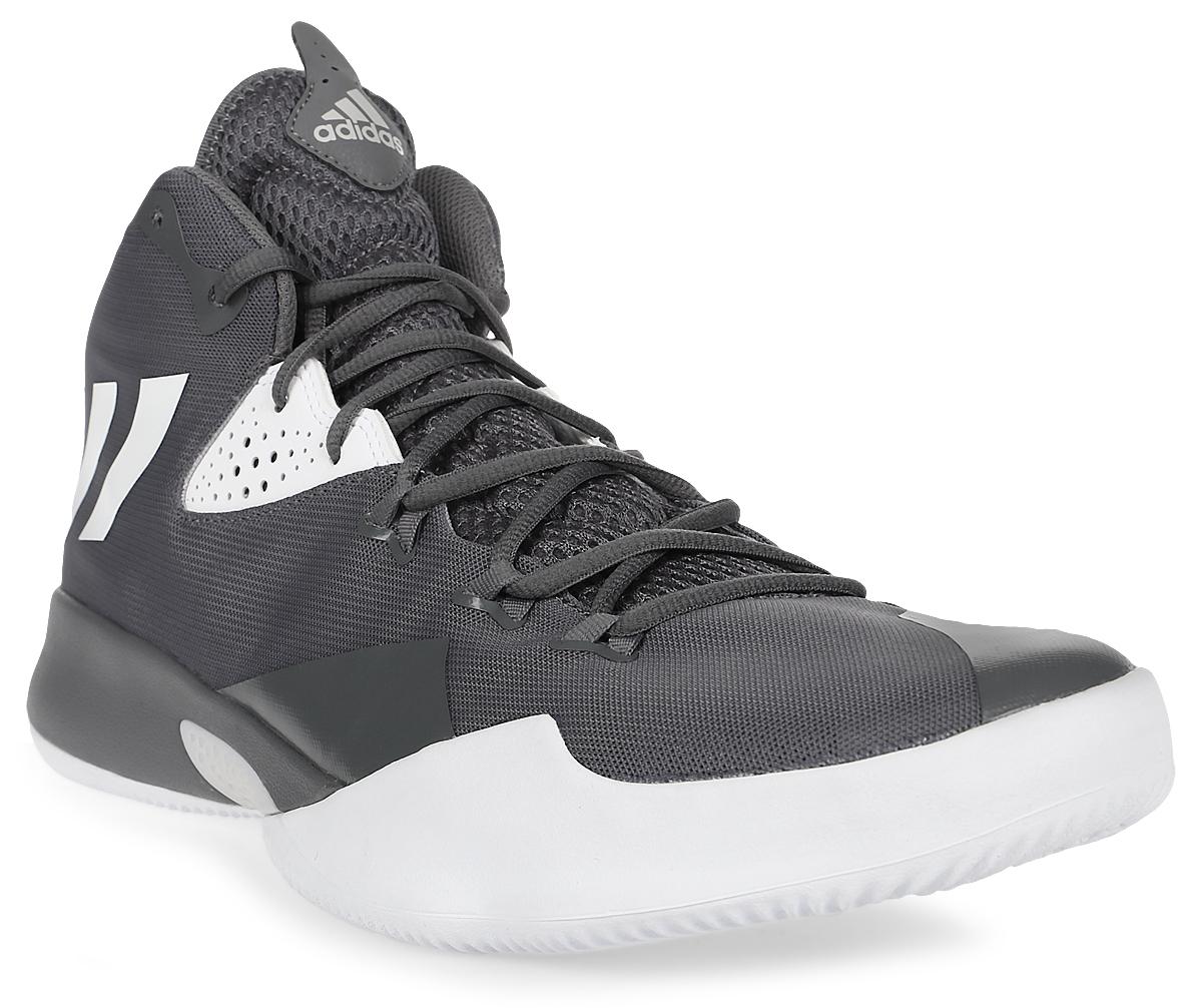 Кроссовки для баскетбола мужские Adidas Dual Threat 2017, цвет: серый. BY4179. Размер 13 (47)BY4179Мужские баскетбольные кроссовки Adidas Dual Threat 2017 - это сочетание оригинального дизайна и функциональности. Верх модели выполнен из воздухопроницаемой сетки с защитой мыса из синтетической кожи. Внутренняя поверхность выполнена из текстиля для наибольшего комфорта ног. Резиновая подошва с рельефным протектором имеет отличное сцепление с поверхностью. Легкая амортизация в подошве и вставка из ЭВА обеспечивают комфорт во время игры.