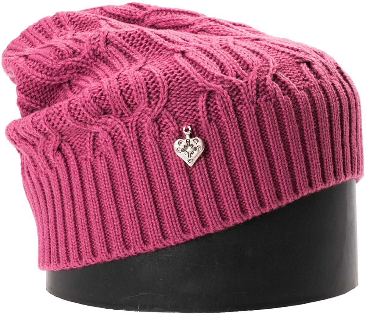 Шапка женская Vittorio Richi, цвет: брусничный. NSH900115. Размер 56/58NSH900115Стильная женская шапка Vittorio Richi отлично дополнит ваш образ в холодную погоду. Модель, изготовленная из шерсти с добавлением акрила, максимально сохраняет тепло и обеспечивает удобную посадку. Шапка дополнена ажурной вязкой и сбоку декоративным элементом. Привлекательная стильная шапка подчеркнет ваш неповторимый стиль и индивидуальность.
